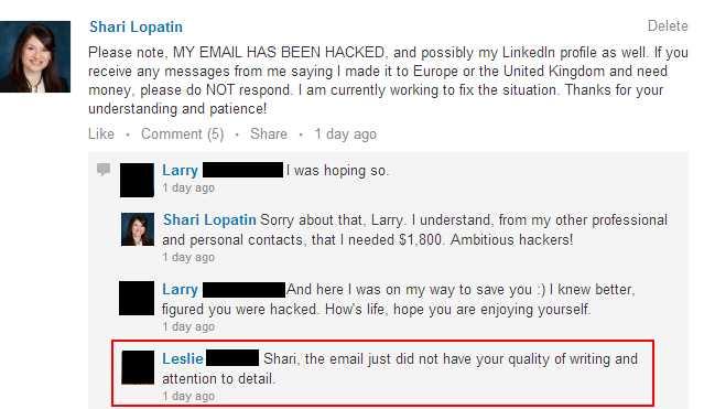 LinkedIn hacker convo